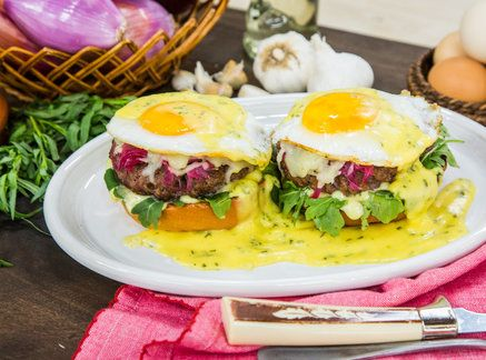Mouth-watering Burger Benedict by chef Kris Morningstar! Don't miss Home & Family weekdays at 10a/9c on Hallmark Channel