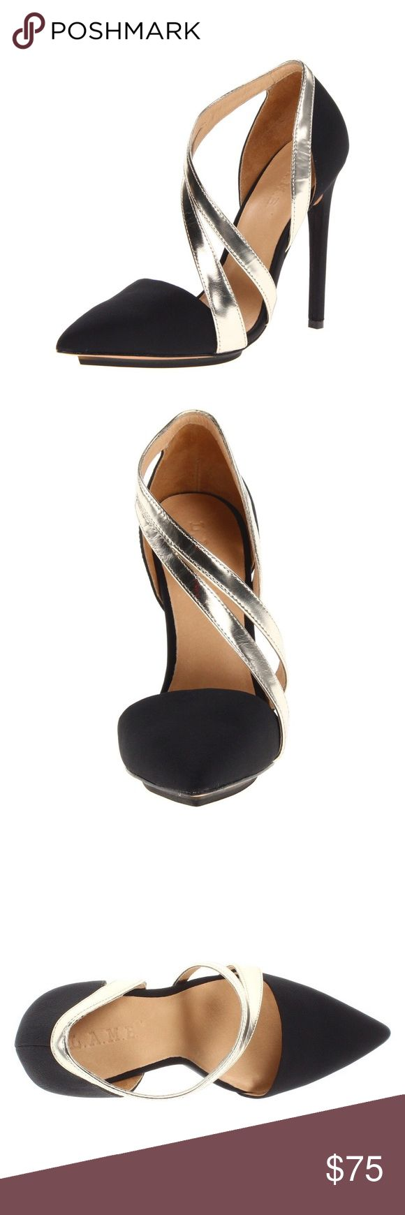 L.A.M.B. Lynn D'Orsay Pump black SOLD OUT EUC L.A.M.B. black and gold pumps size 8. Only worn once for less than 2 hours. Completely sold out in this style. Absolutely gorgeous in person. L.A.M.B. Shoes Heels