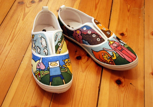 adventure time shoes diy shoe shoe designs shoe art fabric painting ...