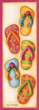 Pink Flip Flop Group Fine-Art Print by Kathy Middlebrook at FulcrumGallery.com