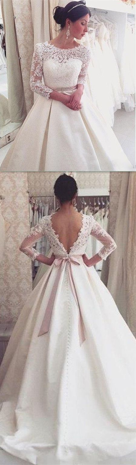 Lace Backless Wedding Dresses,Wedding Dress,Custom Made Wedding Gown