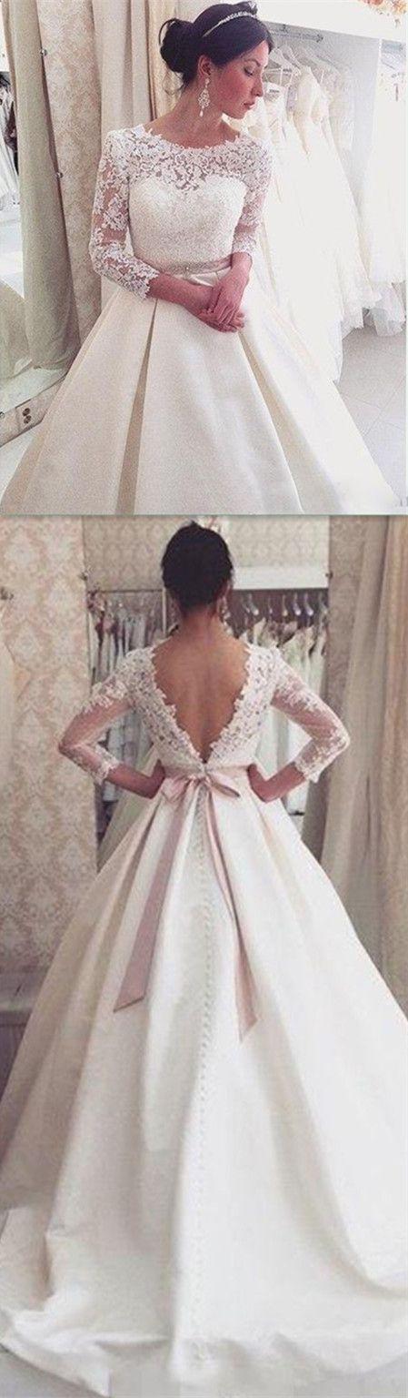 Lace Backless Wedding Dresses,Wedding Dress,Custom Made Wedding Gown
