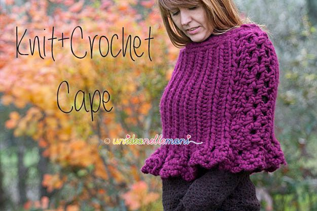 Knit + crochet poncho. Love the idea of making a lace pattern on the sides. Instructions in Italian.