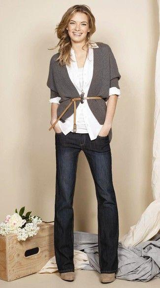 Women's Charcoal Open Cardigan, White Dress Shirt, White Tank, Charcoal Flare Jeans