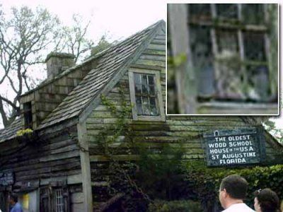 In March 2003, Margaret Cowart took this picture of the Oldest Wood School House in the USA located in St. Augustine Florida. It appears at least one student turned up for the class photo.