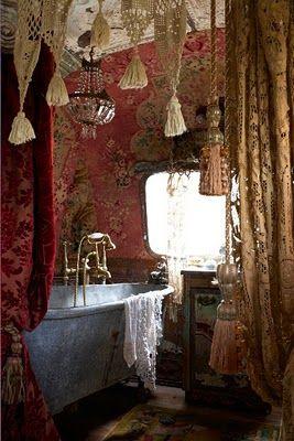 Romantic gypsy Airstream from Magnolia Pearl.Bathtubs, Interiors, Clawfoot Tubs, Magnolias Pearls, Dreams Bathroom, Romantic Home, Bohemian Bathroom, Boho, Airstream Trailers