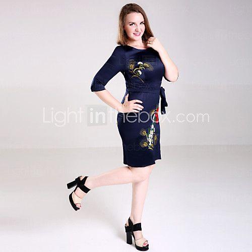 Kadın Resmi / Çalışma / Büyük Beden Çin Stili Kılıf Elbise Nakışlı,¾ Kol Uzunluğu Yuvarlak Yaka Diz üstü Mavi Polyester Bahar / Sonbahar 2017 - $25.99