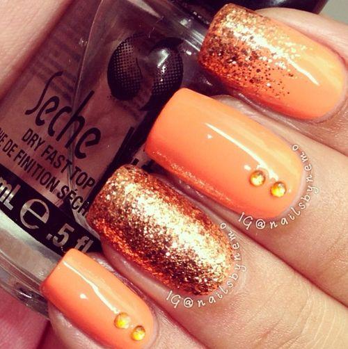 Naranja.... glitter de color dorado... decoración de brillos naranjas...