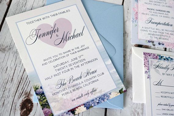 Pastels n' Florals Beach Wedding Invitation  Lilac