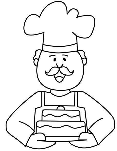 Panadero para colorear | Panadero. Profesiones y oficios ...