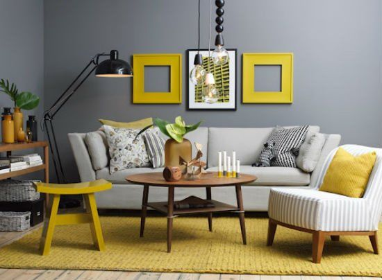I'm really loving gray and yellow lately.  I wonder if that would work with my black living room furniture...