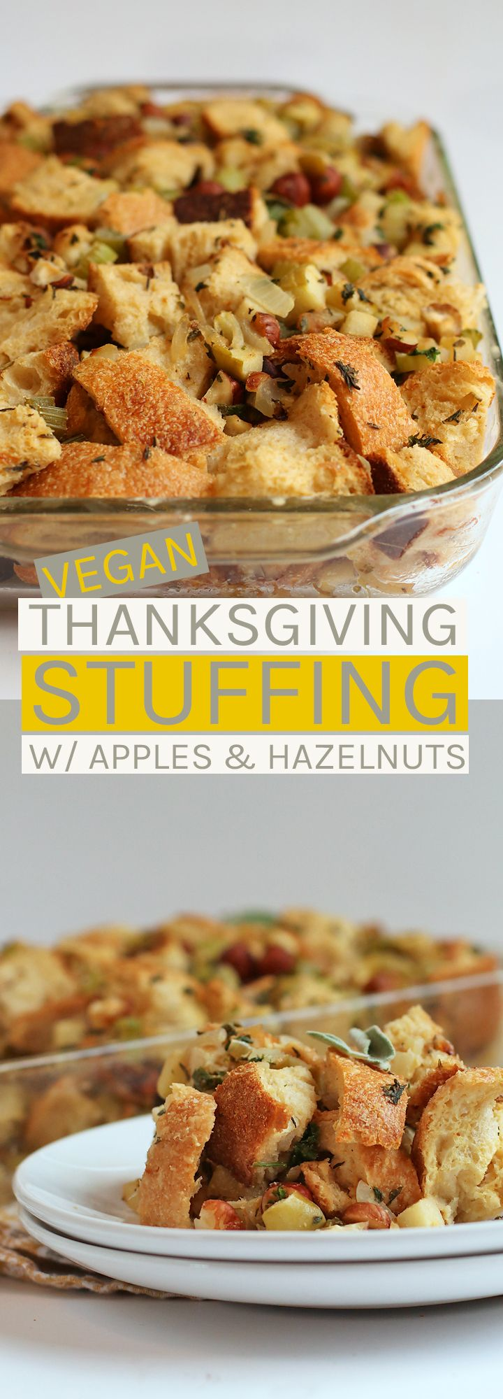 A classic Thanksgiving dish turned vegan. This vegan stuffing is made with apples, hazelnuts, and all the seasonal spices for the perfect side to your holiday table.