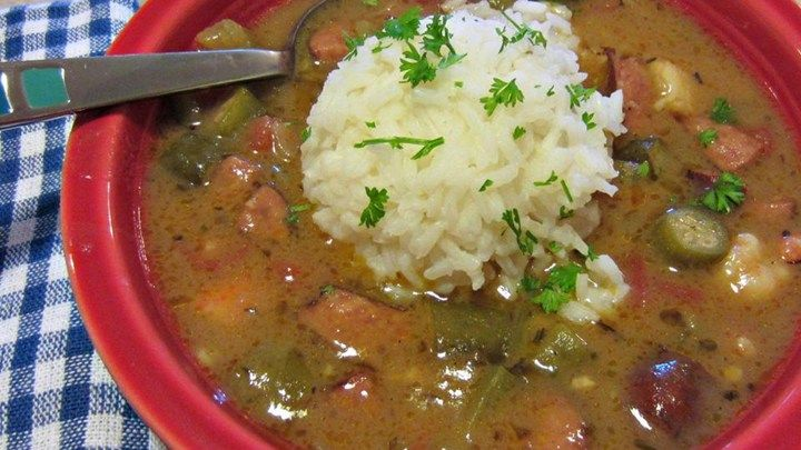 With a slow cooked roux and gumbo file powder flavoring the shrimp, crabmeat, and andouille sausage, this gumbo is an authentic creole meal.