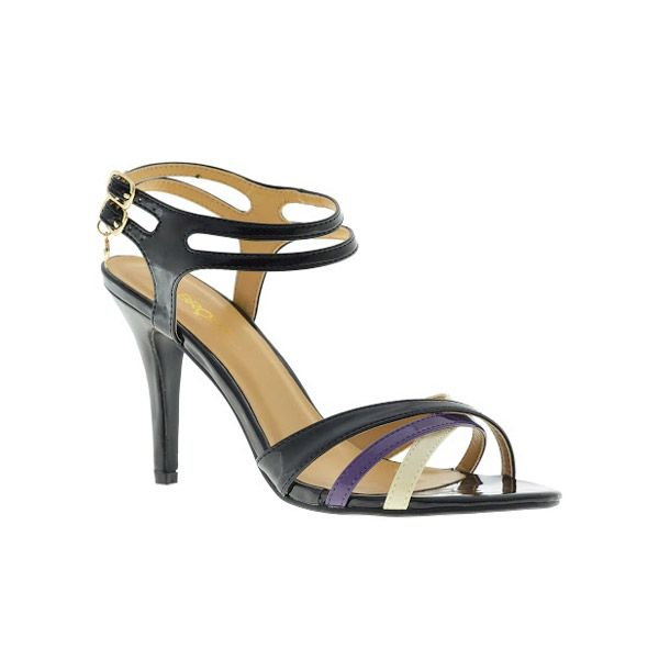 """Noa"" Ladies Black Heeled Strappy Sandal by Bronx Woman."