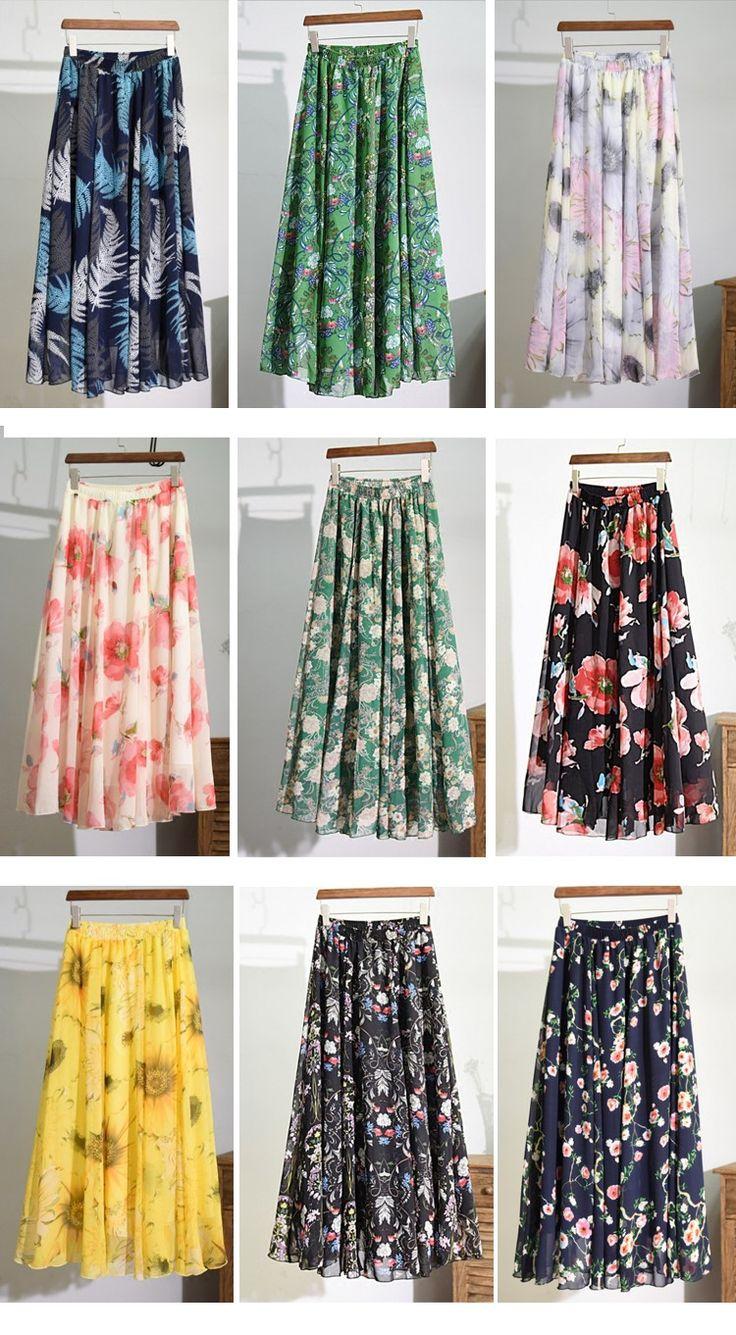 Aliexpress.com: Comprar Alta calidad Marca Gasa de Las Mujeres Falda Larga de La Cintura Elástico Plisada Impreso Beach Verano de Boho Maxi Faldas Faldas Faldas Saia de falda de encaje fiable proveedores en MULANDO Clothing