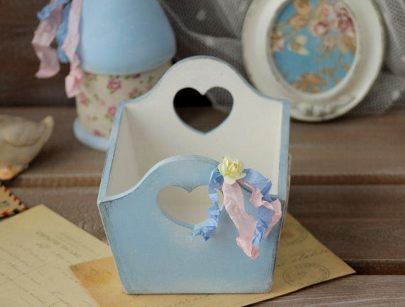 Shabby Chic Wood Basket, Wedding Basket, Cottage chic Storage Basket. Shabby Wood Box with Handles. Wedding Centerpiece, Shabby Wood Container, Gift for her  Blue ............ #etsy