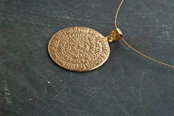 Gold Greek Phaistos Disc Necklace Ancient Minoan by GreekMythos