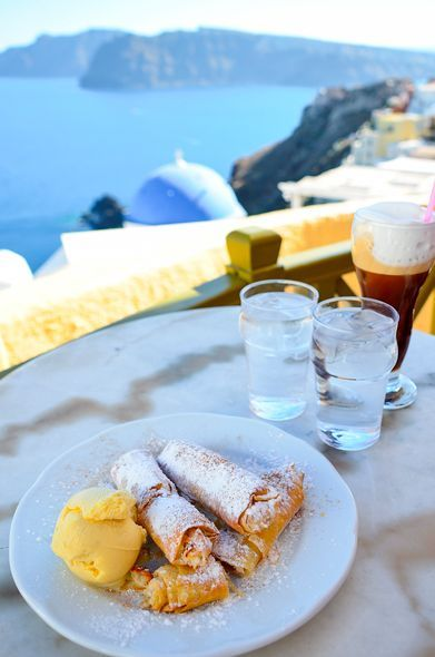 Sweet treats with a view at Melenio - where to eat in Oia, Santorini