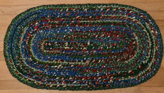 Hand Braided Rag Rug  Christmas Patchwork by StudioatRedTopRanch