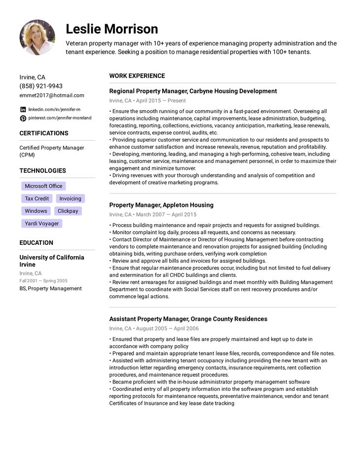 Property manager resume example in 2020 manager resume