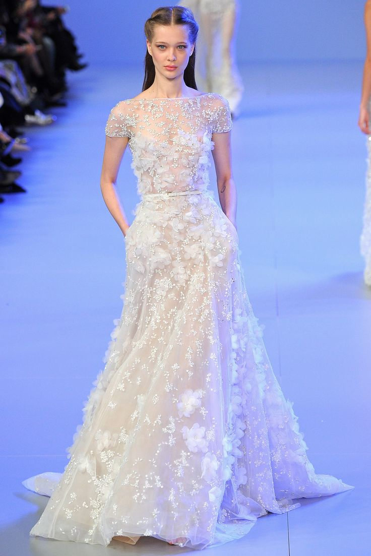"""""""Short sleeve, boat neckline, embroidered tulle long a-line dress w/ silk organza flowers applique"""""""