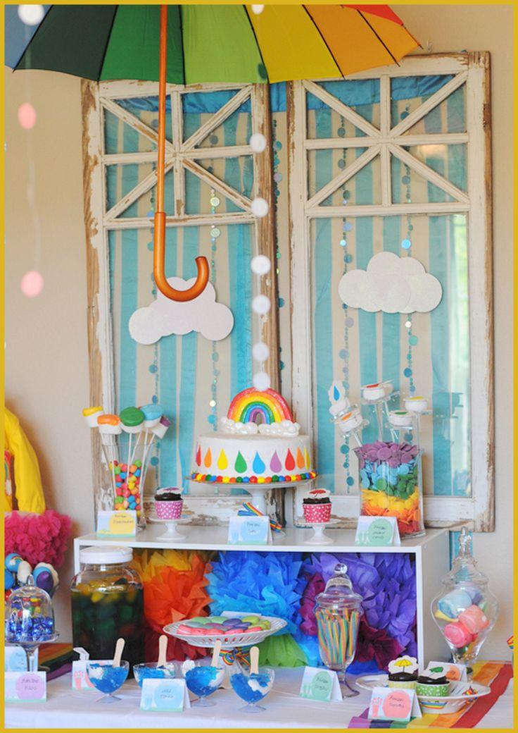 Rainbow Rain Sweets table