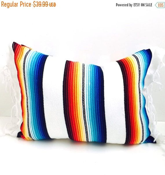 SALE mexican blanket pillow / urban by SeaGypsyCalifornia on Etsy