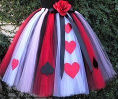 """Queen of Hearts - Adult Teen Pre-teen Costume Tutu - Custom Sewn Tutu - up to 36"""" long - For Halloween and Birthday - Size Small. $150.00, via Etsy."""