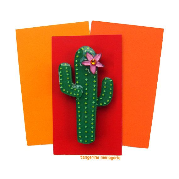 Saguaro Cactus Vintage Inspired Novelty Brooch Pin by Tangerine Menagerie