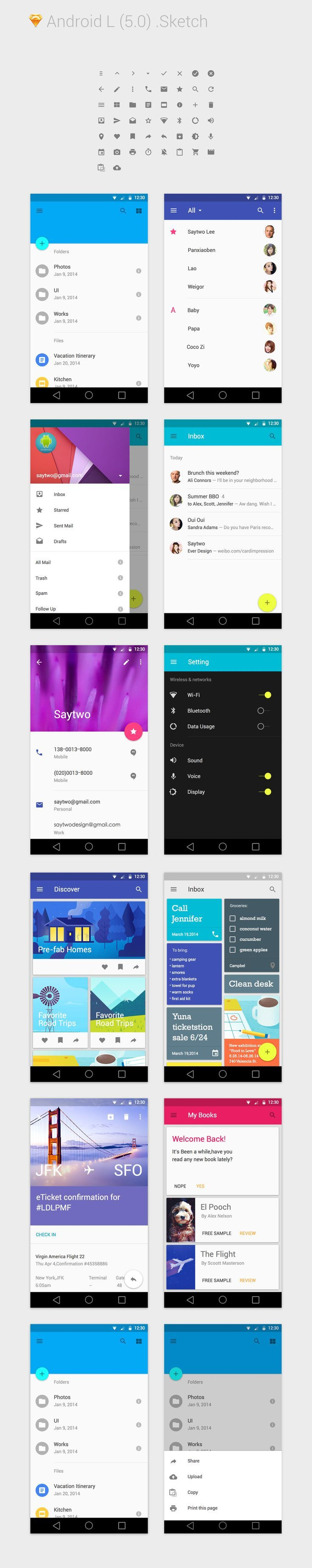 Android L for Sketch 3 #materialdesign #material #design: