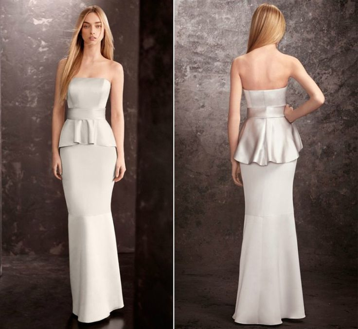 Discount Silver Mermaid Peplum Bridesmaid Dress Long Dresses Strapless Wedding Guest For Mature Girl Formal Evening