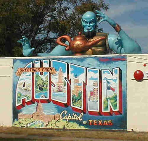 Blue genie austin postcard mural arabian nights for Austin postcard mural