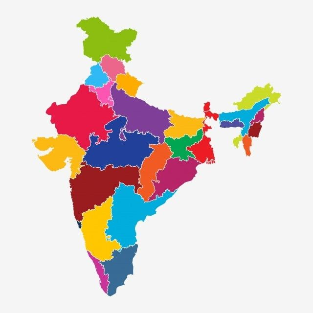 Colorful India Map Vector Illustration India Map Colorful Map Animated Clipart