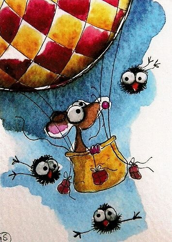 ACEO Print Watercolor Folk Art Lucia Stewart Mouse Hot Air Balloon Crow Bird | eBay