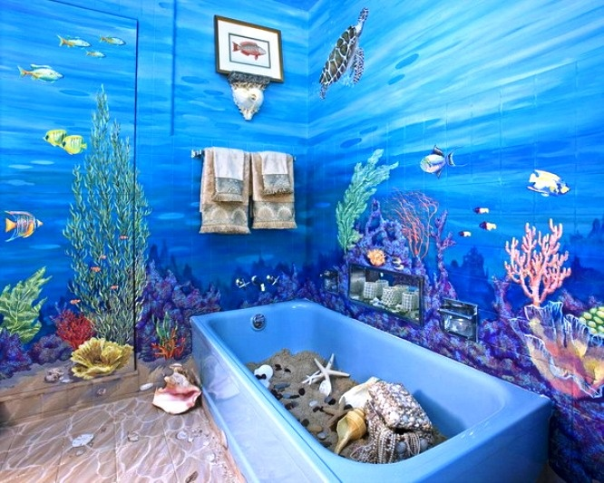 17 best images about beach scene on walls on pinterest for Beach inspired bathroom designs