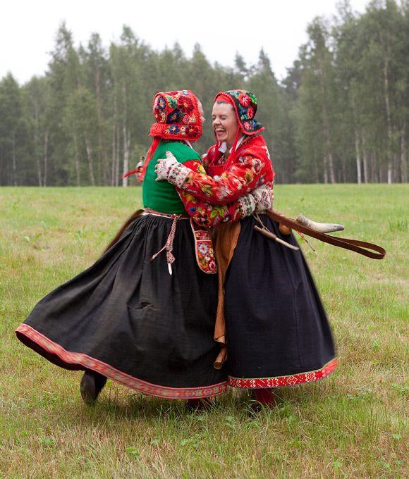 The pasture women, vallkullorna, in Dalecarlia
