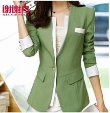 2014 New Autumn Blazer for Women Coats Feminino Jackets Formal Lady Suit Office Work Wear Formal Top Army green,Pink,Purple(China (Mainland))