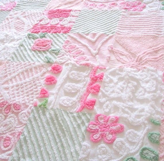 vintage, patchwork, chenille fabrics sewn together to make an irresistible quilt!!   Love these colors & textures :)