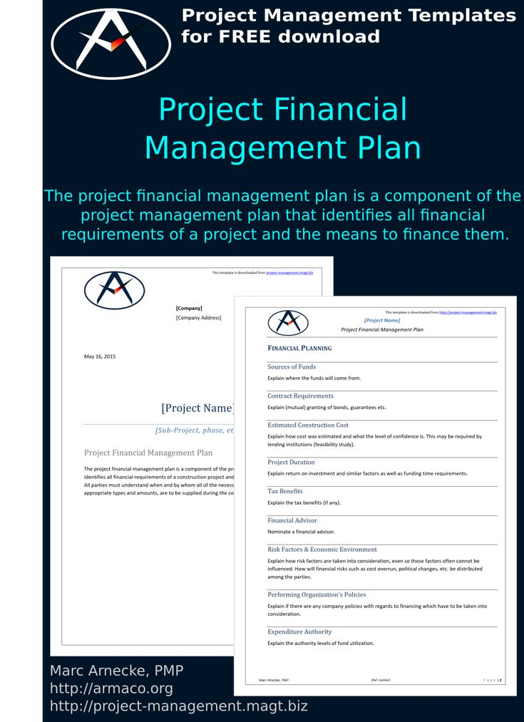 A project is an undertaking by one or more people to develop and create a service, product or goal. The Project Financial Management Plan Is A Component Of The Project Management Plan That Identifi Financial Management Project Management Templates How To Plan