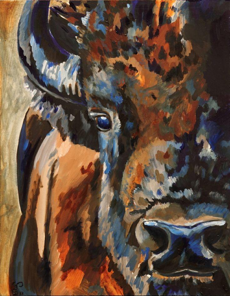 """Buffalo Painting """"Buffalo Hair"""" Oil Jessi Sparkman"""