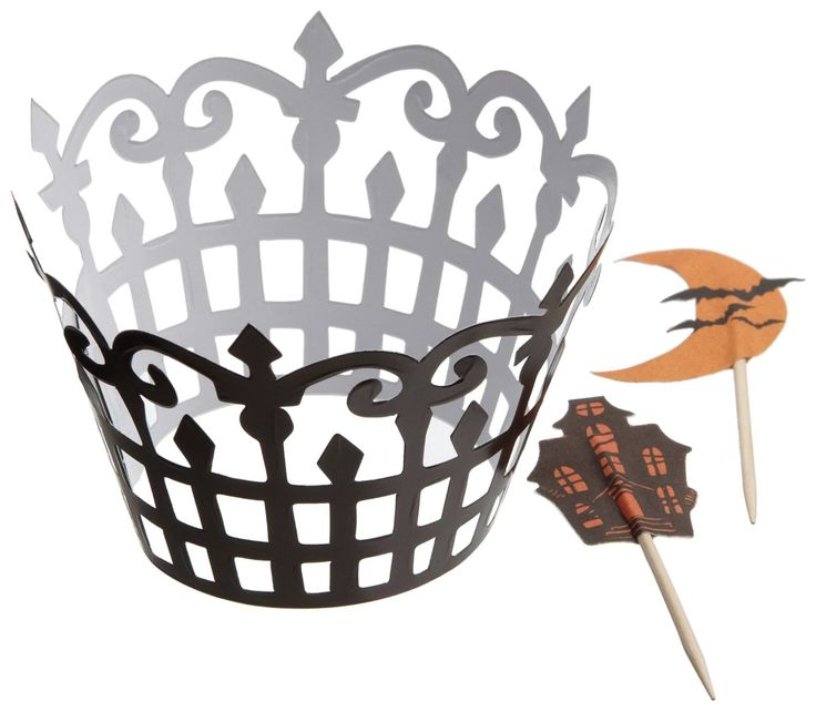 halloween wedding cupcake wrapper   maybe cupcakes instead of a cake? 12 wrappers, 24 picks for $3.99 + $7.50 shipping. Via Amazon.