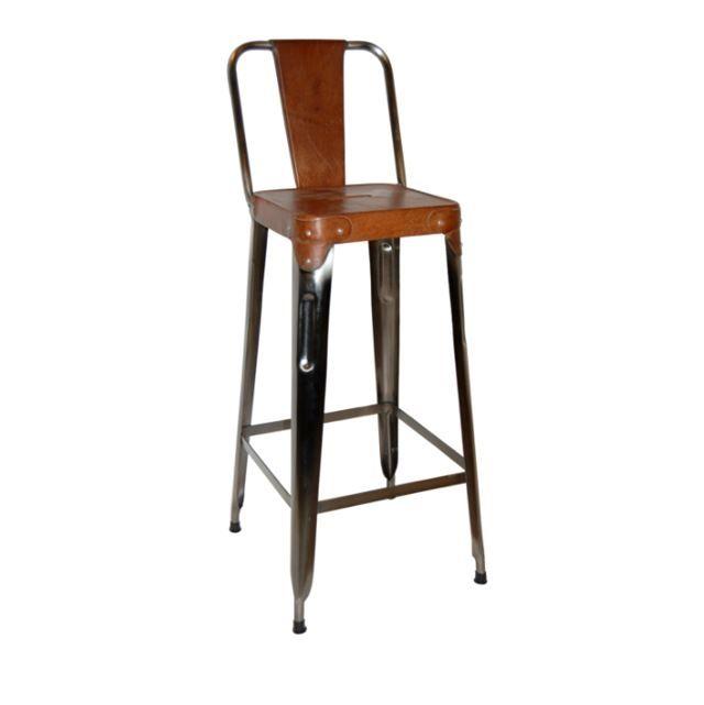 Antik barstol med læder