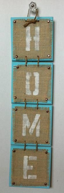 DIY - Burlap Art (Can be made in any color and spell out any word - idea red wood and the burlap letters spelling Noel)