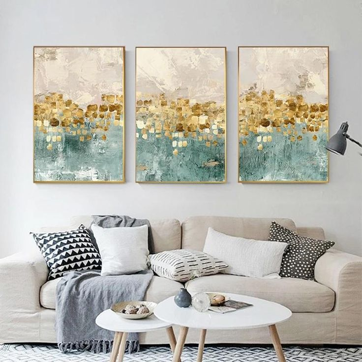Modern Abstracts Gold Beige And Tiffany Blue Luxury Wall Art Fine Art Canvas Prints Nordic Sty Modern Interior Decor Contemporary Wall Art Wall Art Living Room