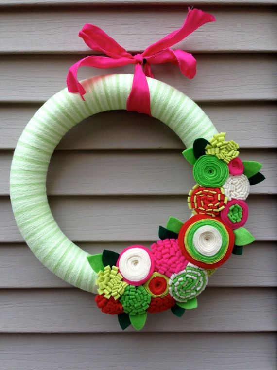 Christmas Wreath wrapped in Yarn and Decorated w/ by stringnthings