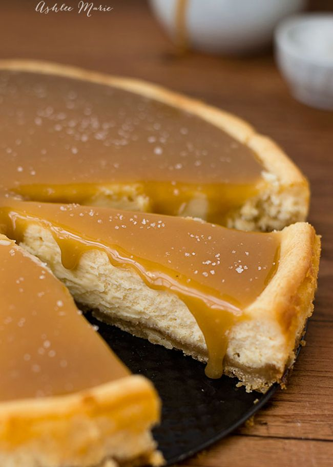 """I know … it's another Cheesecake recipe for my """"Recipe Find of the Week"""" … I cannot help zeroing in on Cheesecakes ;) what can I say! This one is covered in a delish salted caramel sauce, and the filling also has a good dollop of caramel