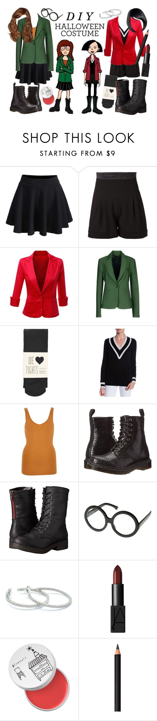 """""""Daria and Jane Costumes"""" by lunachick ❤ liked on Polyvore featuring Dr. Martens, Alexandre Vauthier, Doublju, Annarita N., Oasis, Minnie Rose, River Island, Madden Girl, Roberto Coin and NARS Cosmetics"""