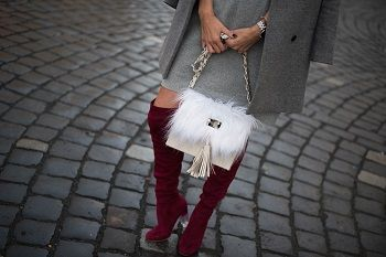 #bag #fur #faux #leather #grey #burgundy #streetstyle #gucci #sunglasses #coat #blode #hair #winter #boots #overtheknee