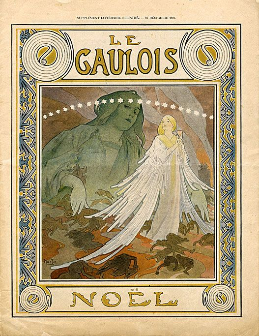 Cover design by Alphonse Mucha for the Christmas edition 1896 of 'Le Gaulois' magazine. Source