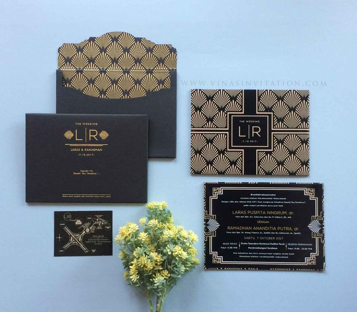 Vinas Invitation. wedding invitation. indonesian wedding. elegant design. custom wedding invitation. gold foil. black and gold invitation. hardcover. wedding card. any question pls visit www.vinasinvitation.com. courtesy of Laras and Ramadhan